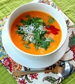 Super healthy butternut squash soup with curry and coconut milk.