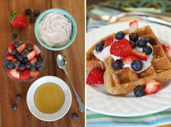 Whole Grain Waffles with Greek Yogurt and Berries from Our Best Bites