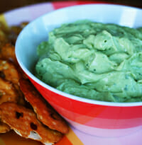 tangy creamy low-fat avocado dip from Our Best Bites