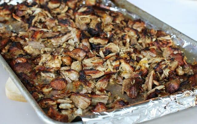 meat for carnitas in pan