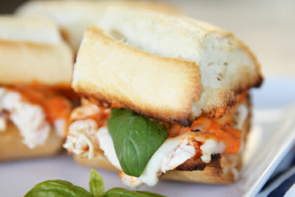 Italian Chicken Sandwich with Roasted Red Pepper Sauce
