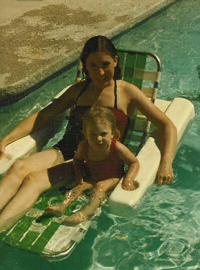 Sara and Mom in Pool