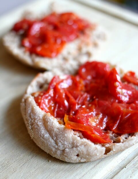 roasted tomatoes on english muffins