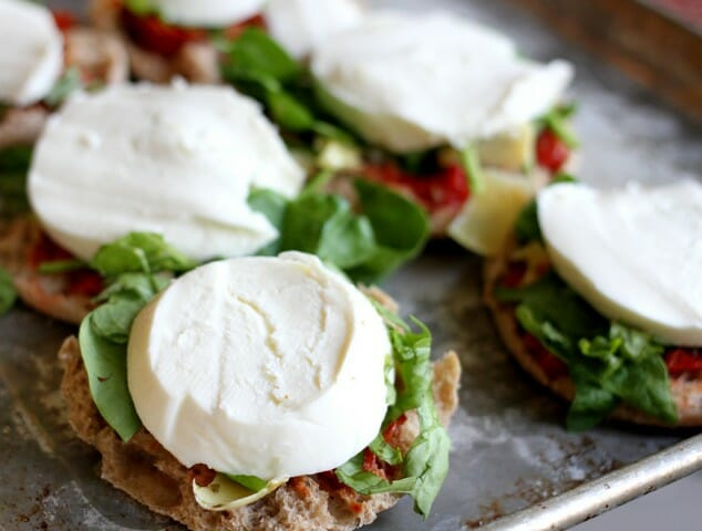 fresh mozzarella on english muffin pizzas