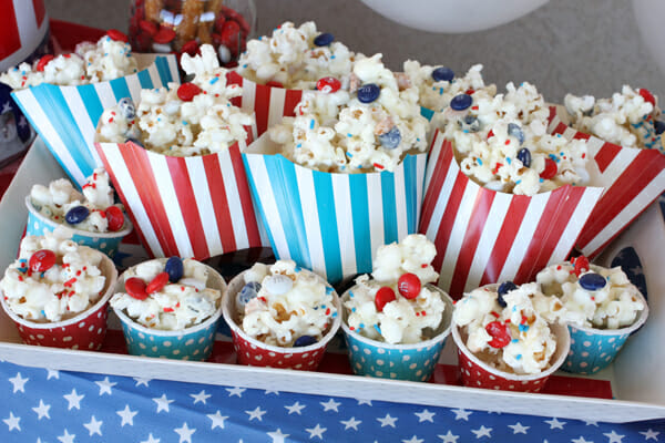 Patriotic Popcorn in Containers