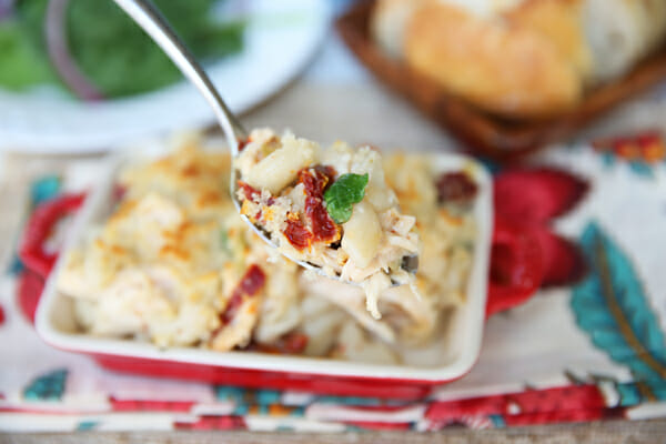 Spoonful of Creamy Garlic Herb Pasta Bake from Our Best Bites