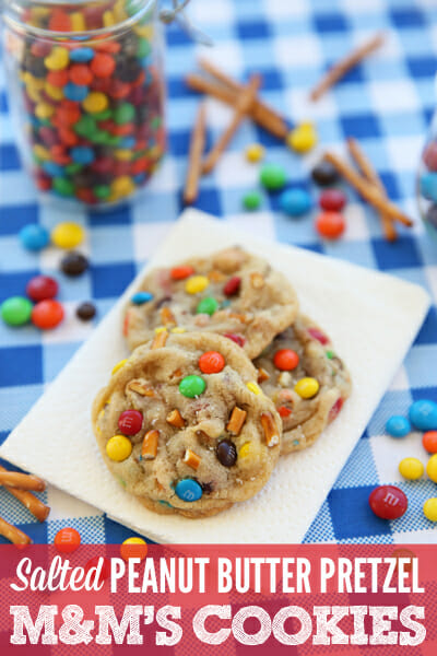Sweet and Salty Peanut Butter Pretzel M&M Cookies from Our Best Bites