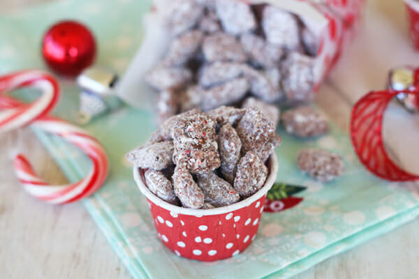 Candy Cane Muddy Buddies Close Up from Our Best Bites