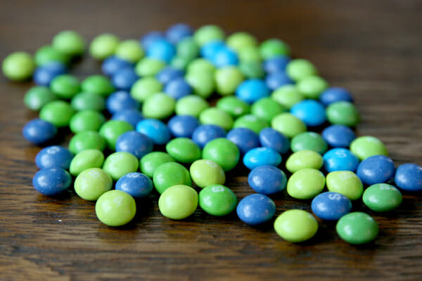 Green and Blue Skittles