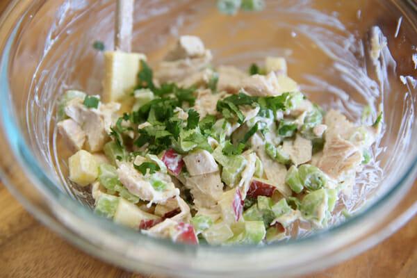Skinny Chicken Salad Mixing