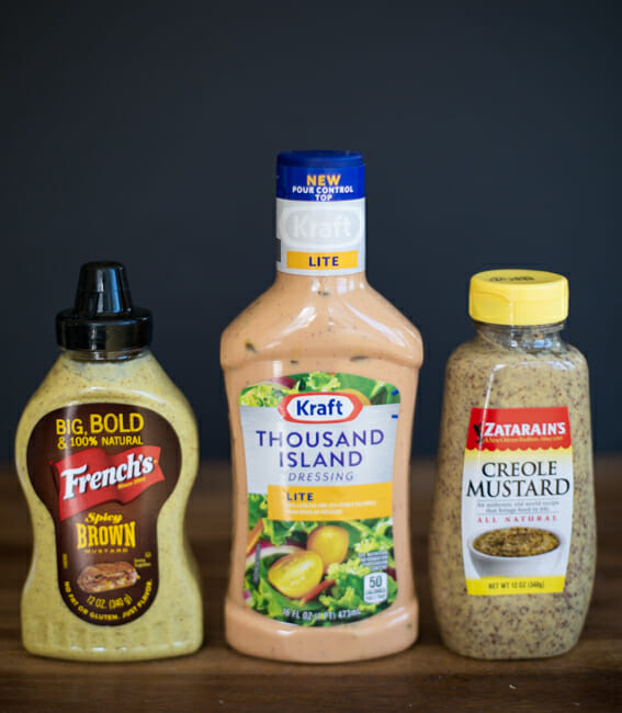 spicy brown and creole mustard and thousand island dressing