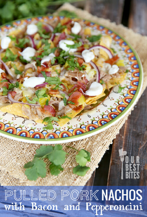 Smokey Pulled Pork Nachos with Bacon and Pepperoncini from Our Best Bites
