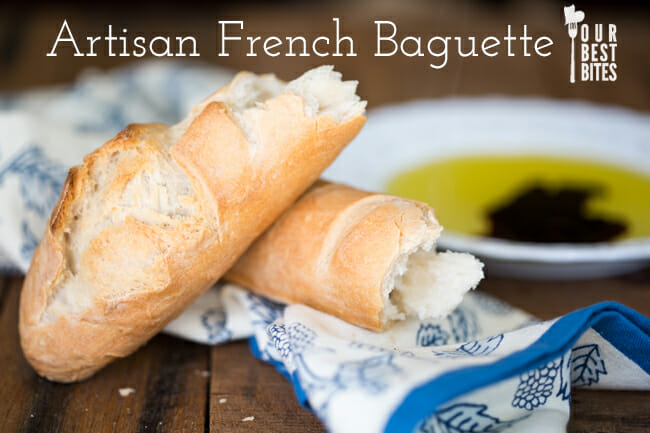 Artisan French Baguette from Our Best Bites--recipe from Artisan Bread in Five Minutes a Day. The dough takes 5 minutes then  stays in your fridge until you're ready to  bake it!