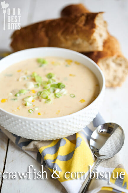 Crawfish and Corn Bisque from Our Best Bites---you can make it in less than 30 minutes!