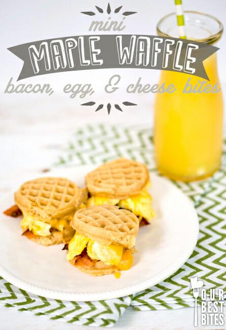 Mini Maple Waffle Bacon Egg, and Cheese Bites