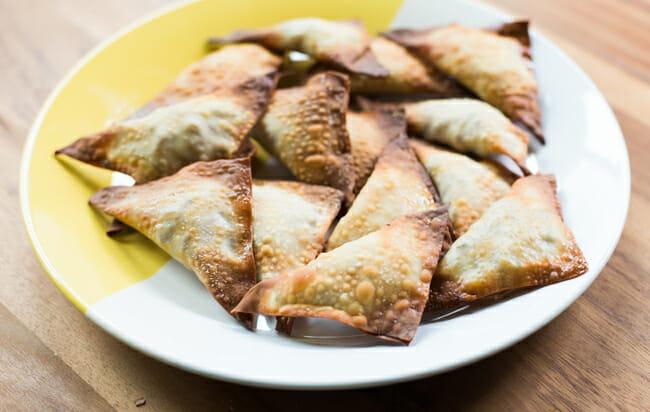 kalua pork wontons on plate