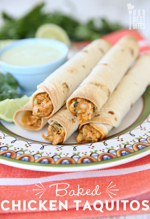 Our Best Bites Baked Creamy Chicken Taquitos