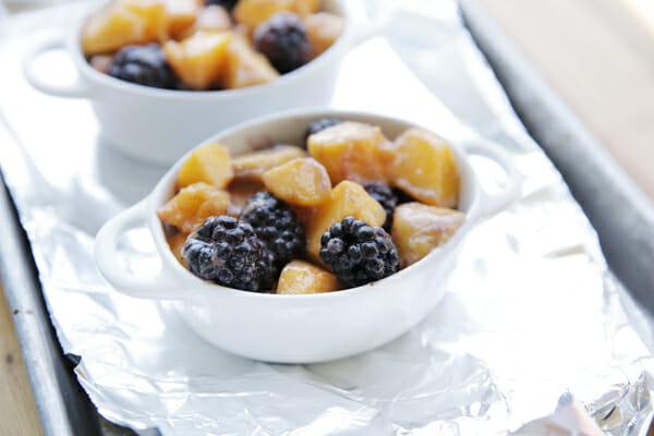 Fruit in cobbler dishes