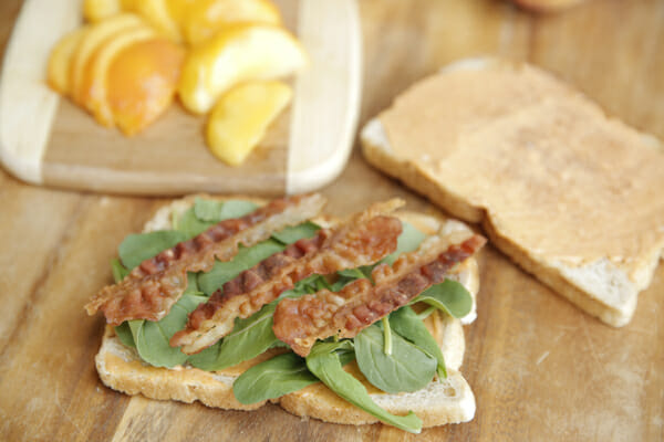 Open Faced Peach Bacon Sandwiches