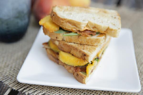 Sliced Close Up Peach Bacon Sandwich