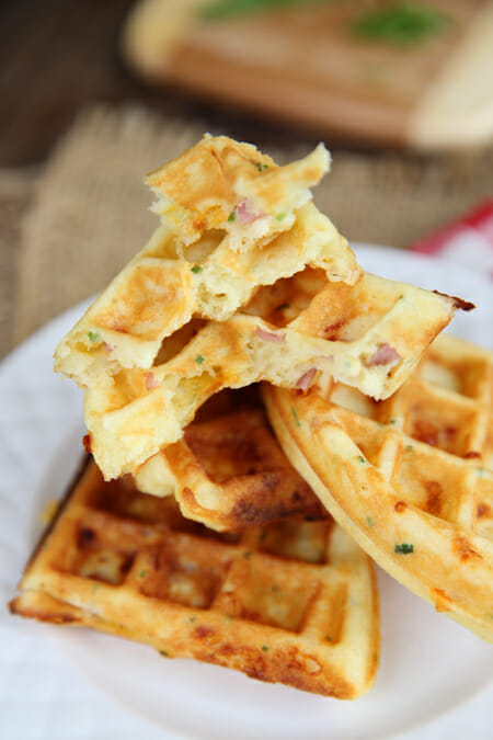 Ham and Cheddar Waffles from Our Best Bites