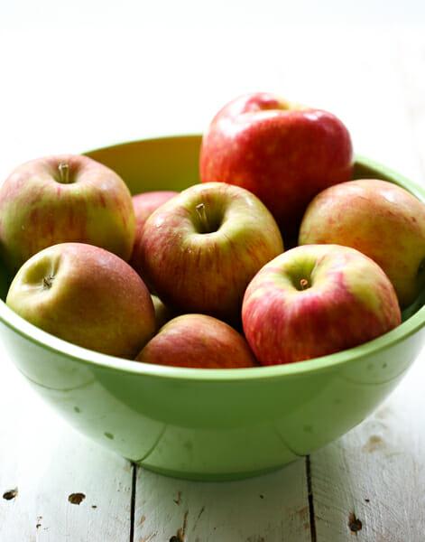 bowl of apples for spiced cider applesauce